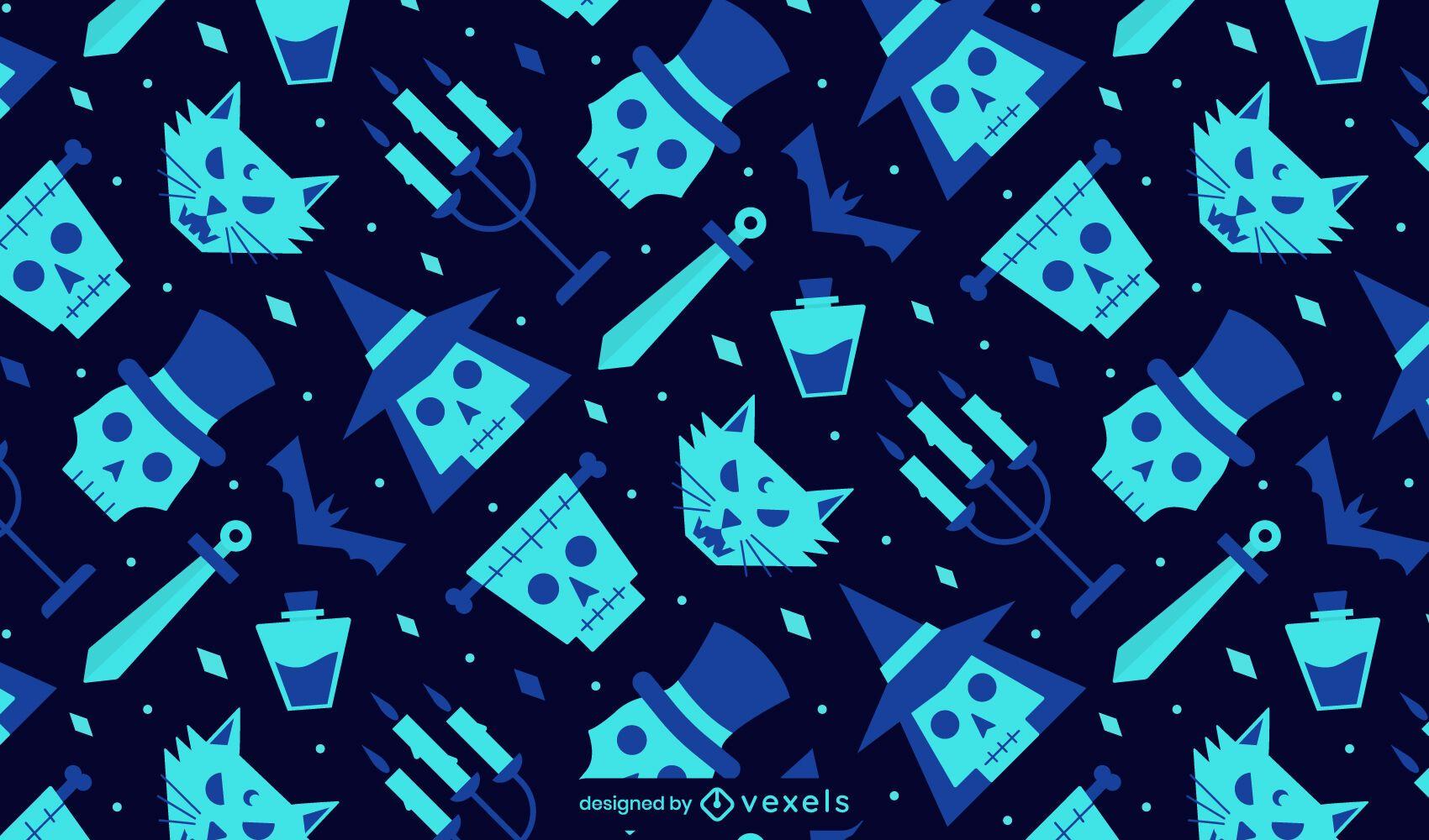 Diseño de patrón de elementos planos de halloween
