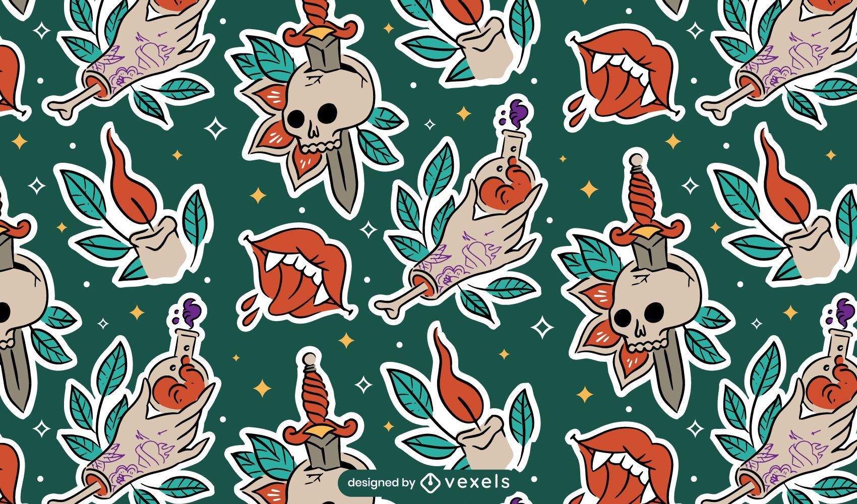 Stickers halloween pattern design