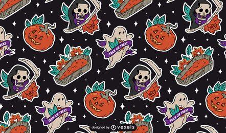 Projeto de padrão de elementos adesivos de Halloween