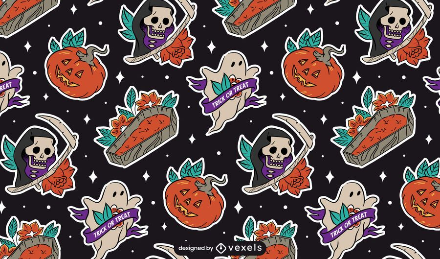 Halloween sticker elements pattern design