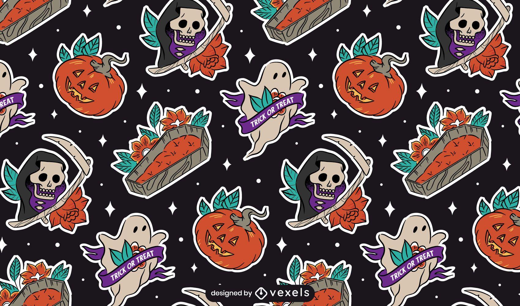 Diseño de patrón de elementos de pegatina de Halloween