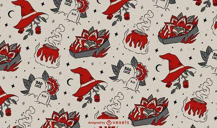 Diseño de patrón vintage de Halloween
