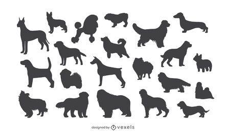 Conjunto de silhueta de raças de cães