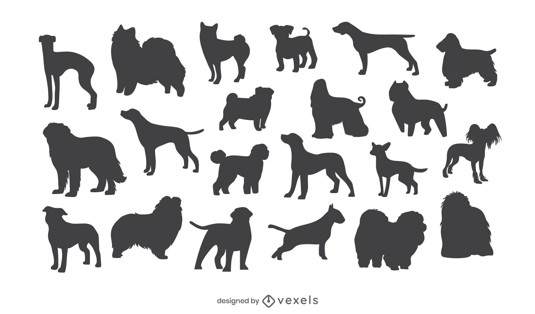 Dog breed silhouette set