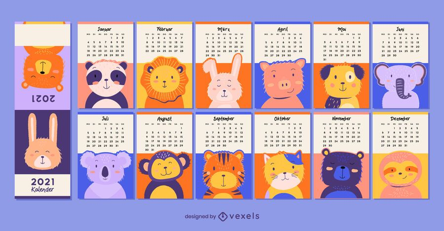Cute animals 2021 german calendar