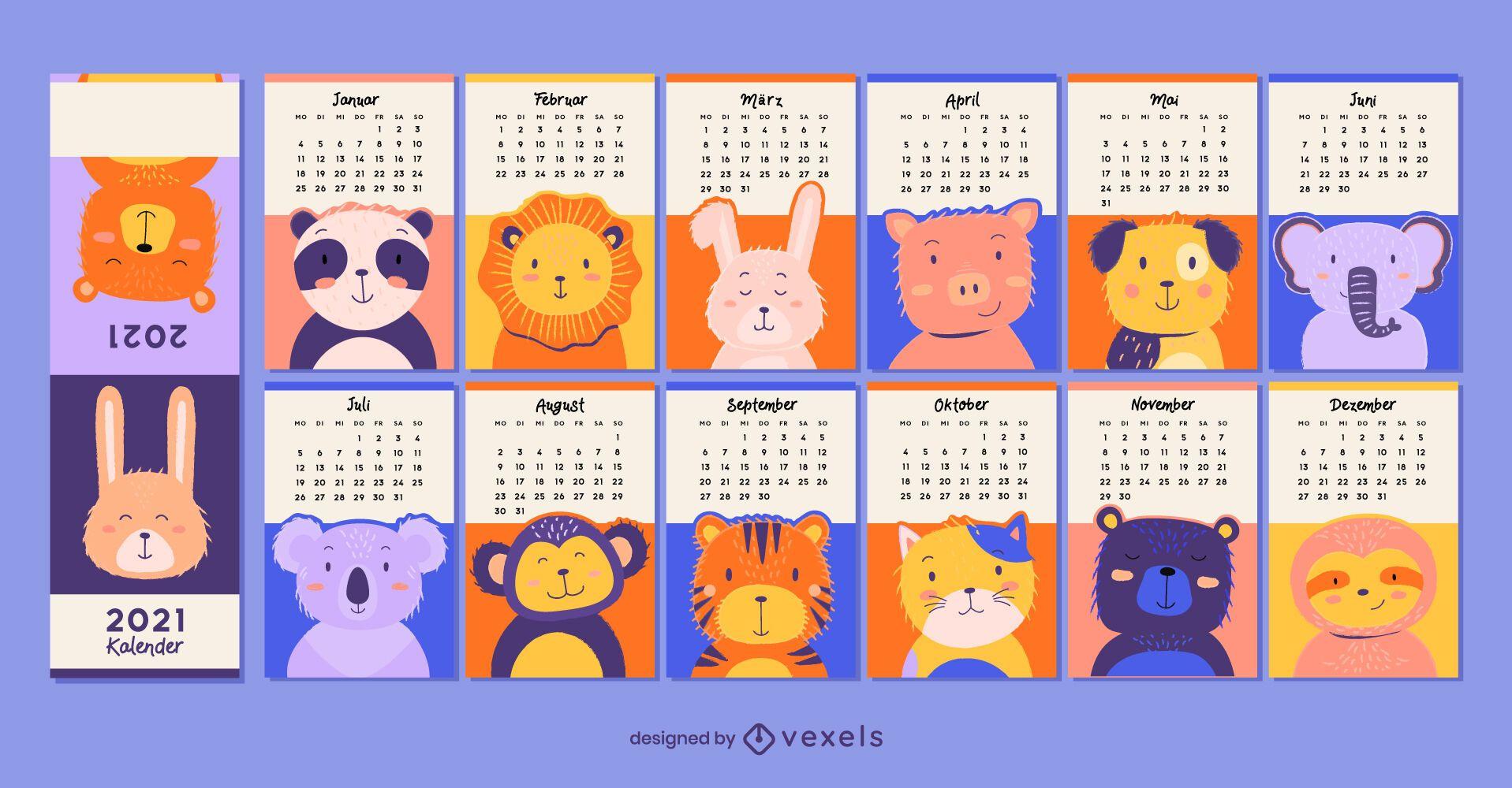 Animais fofos calendário alemão 2021