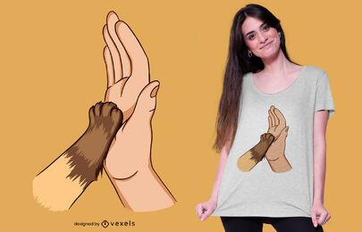 Diseño de camiseta High Five Cat