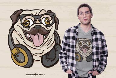 Hipster pug t-shirt design