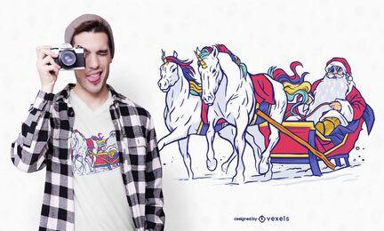 Diseño de camiseta unicornio santa trineo