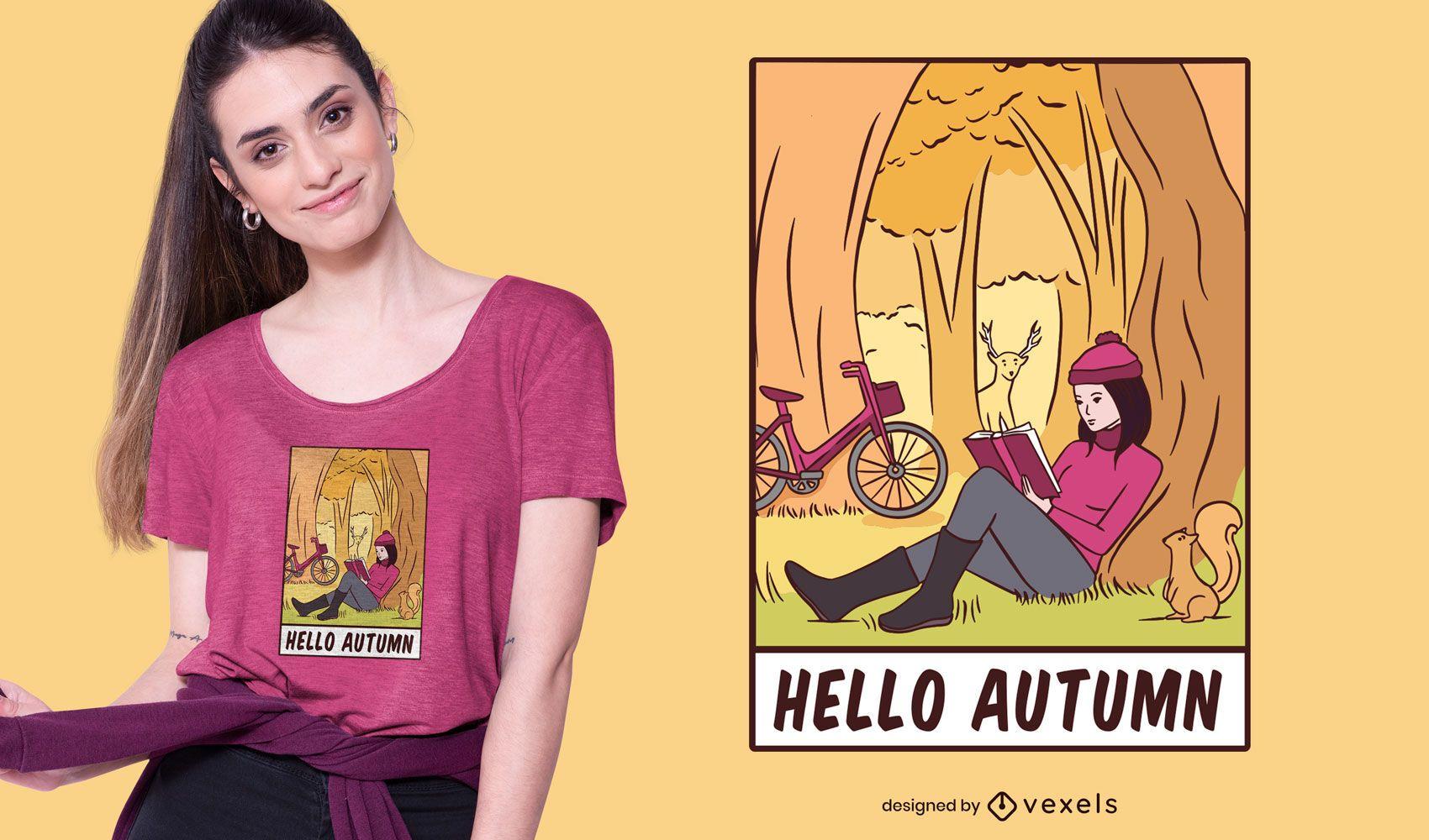 Hola diseño de camiseta de otoño