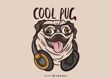 Cool Pug Dog Illustration
