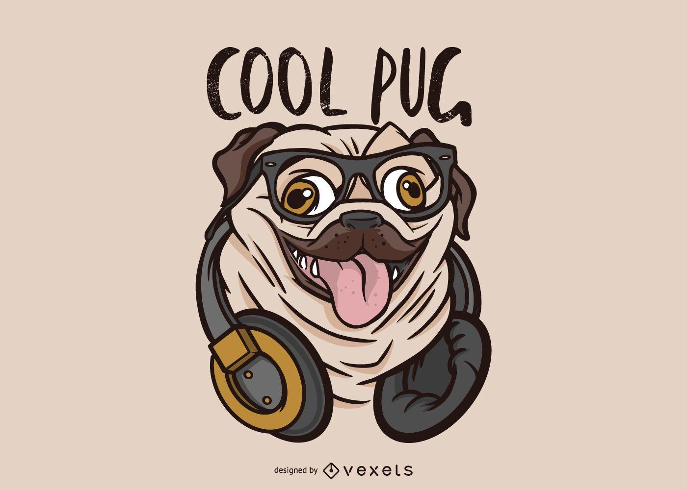 Ilustração Cool Pug Dog