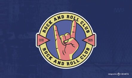 Modelo de logotipo do clube de rock and roll