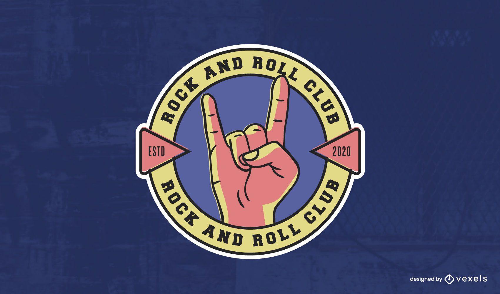 Modelo de logotipo do clube de rock and roll