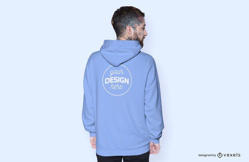 Back model hoodie mockup