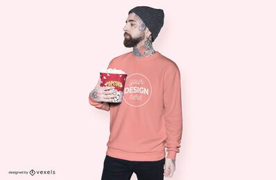 Model popcorn hoodie mockup design