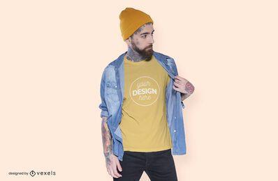 Projeto da maquete do modelo da camiseta do gorro