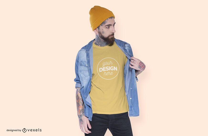 Beanie model t-shirt mockup design