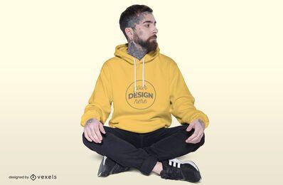 Sitting model hoodie mockup