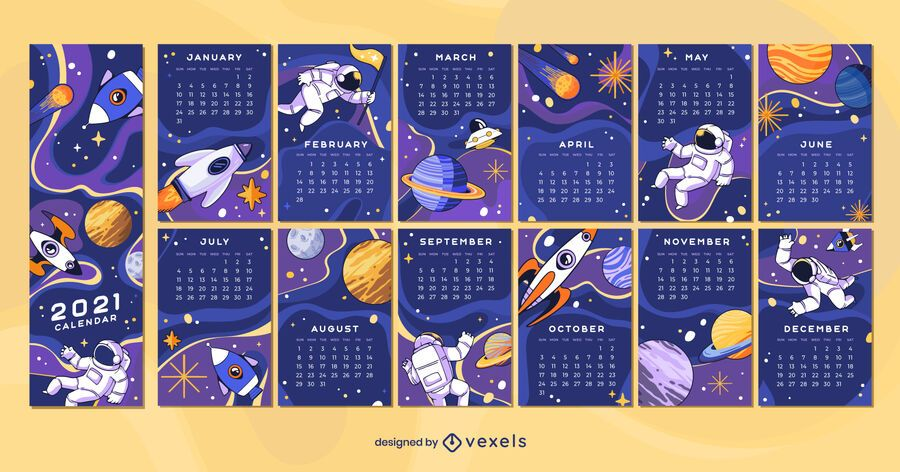 Design do calendário Space 2021