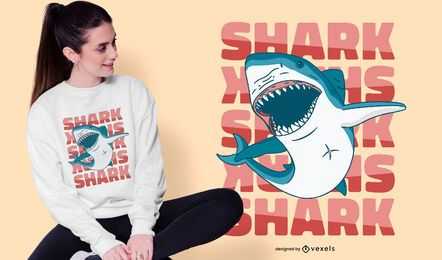 Shark swimming t-shirt design