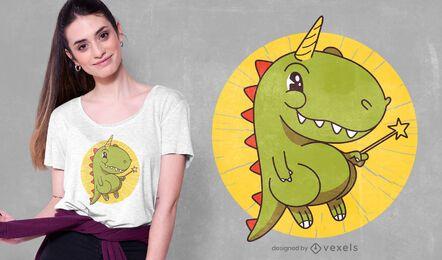 Design de camiseta T-rex unicórnio