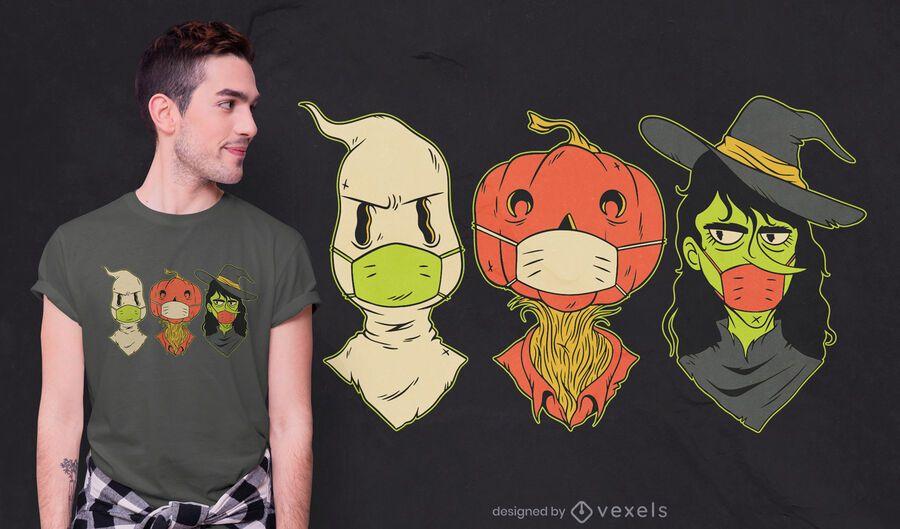 Halloween creatures face mask t-shirt design