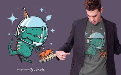 Diseño de camiseta de cumpleaños espacial t-rex.