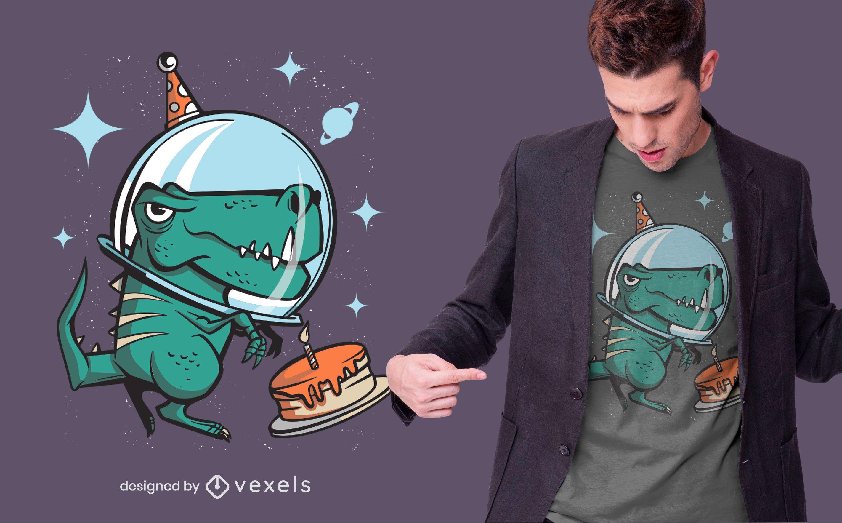 T-rex space birthday t-shirt design
