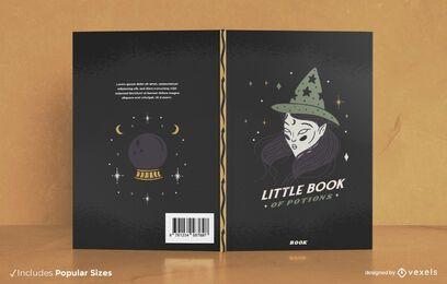 Design de capa de livro de Halloween para livro de poções