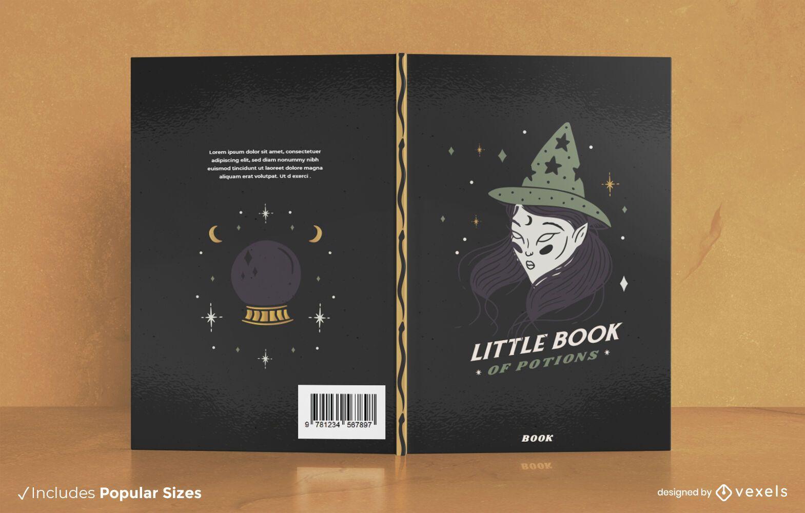 Libro de pociones Diseño de portada de libro de Halloween