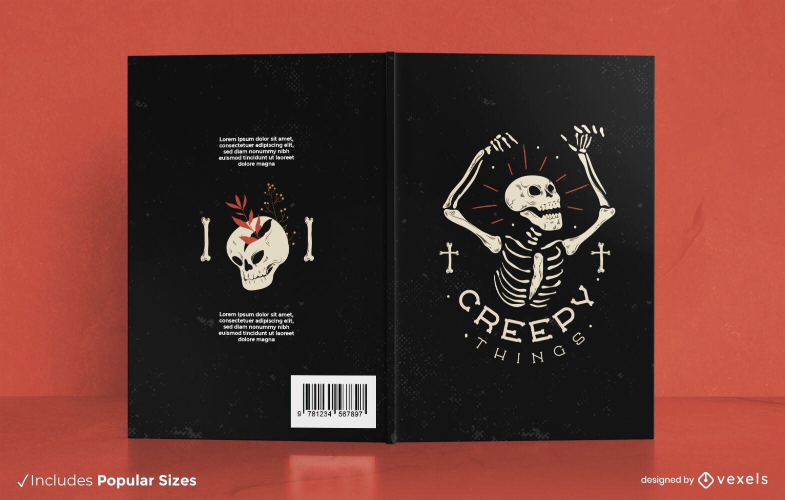 Dise?o de portada de libro de Halloween esqueleto