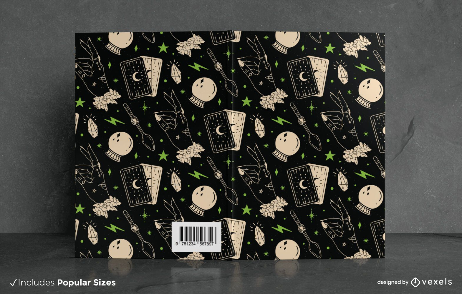 Design de capa de livro com padrão de livro de feitiços de Halloween