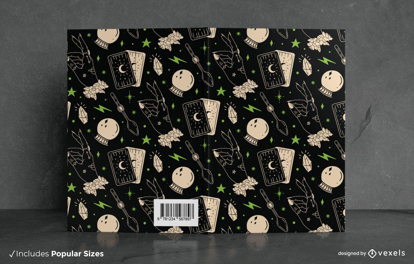 Diseño de portada de libro de patrón de libro de hechizos de Halloween