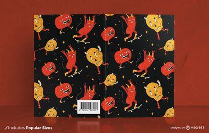 Desenho de capa de livro com padrão de monstro de desenho animado