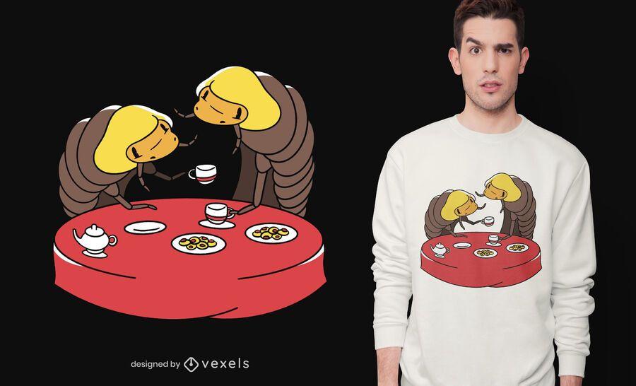 Woodlice tea party t-shirt design