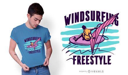 Design de camiseta estilo livre para windsurf