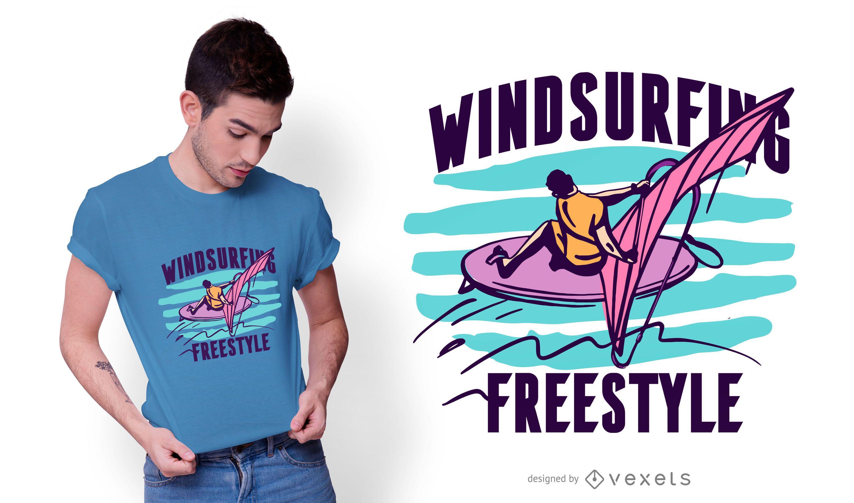 Diseño de camiseta de windsurf estilo libre.