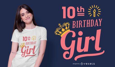 Diseño de camiseta de niña de cumpleaños