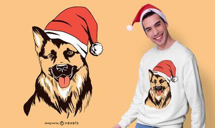 Diseño de camiseta de pastor alemán de Navidad