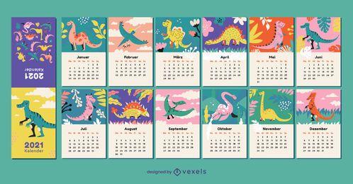 Dinosaur 2021 calendário alemão