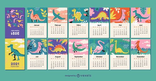 Dinosaur 2021 german calendar