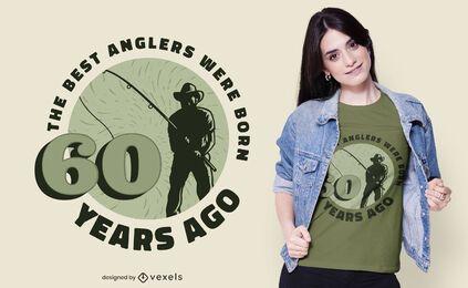 Desenho de camiseta com citação de pescador