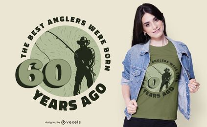 Diseño de camiseta con cita de pescador