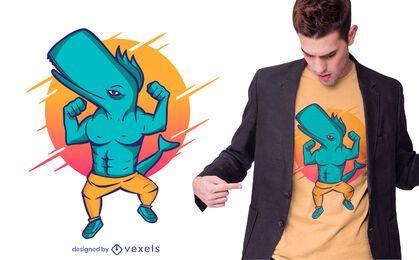 Diseño de camiseta de ballena musculosa.