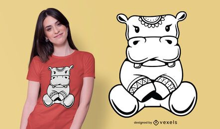 Design fofo de camiseta hipopótamo