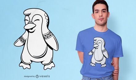 Lindo diseño de camiseta de pingüino