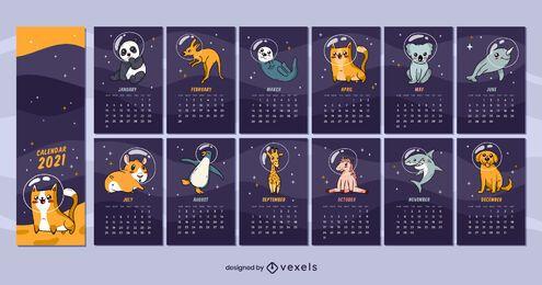 Diseño de calendario de animales espaciales 2021