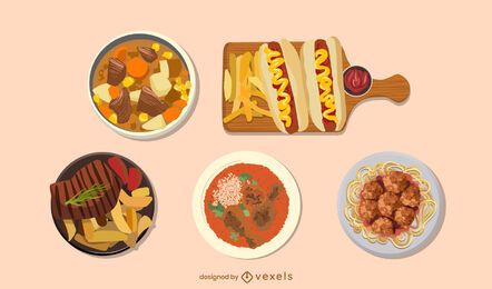 Meat dishes food illustrations