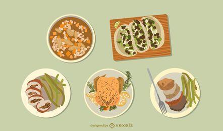 Hühnchen Gerichte Essen Set Design